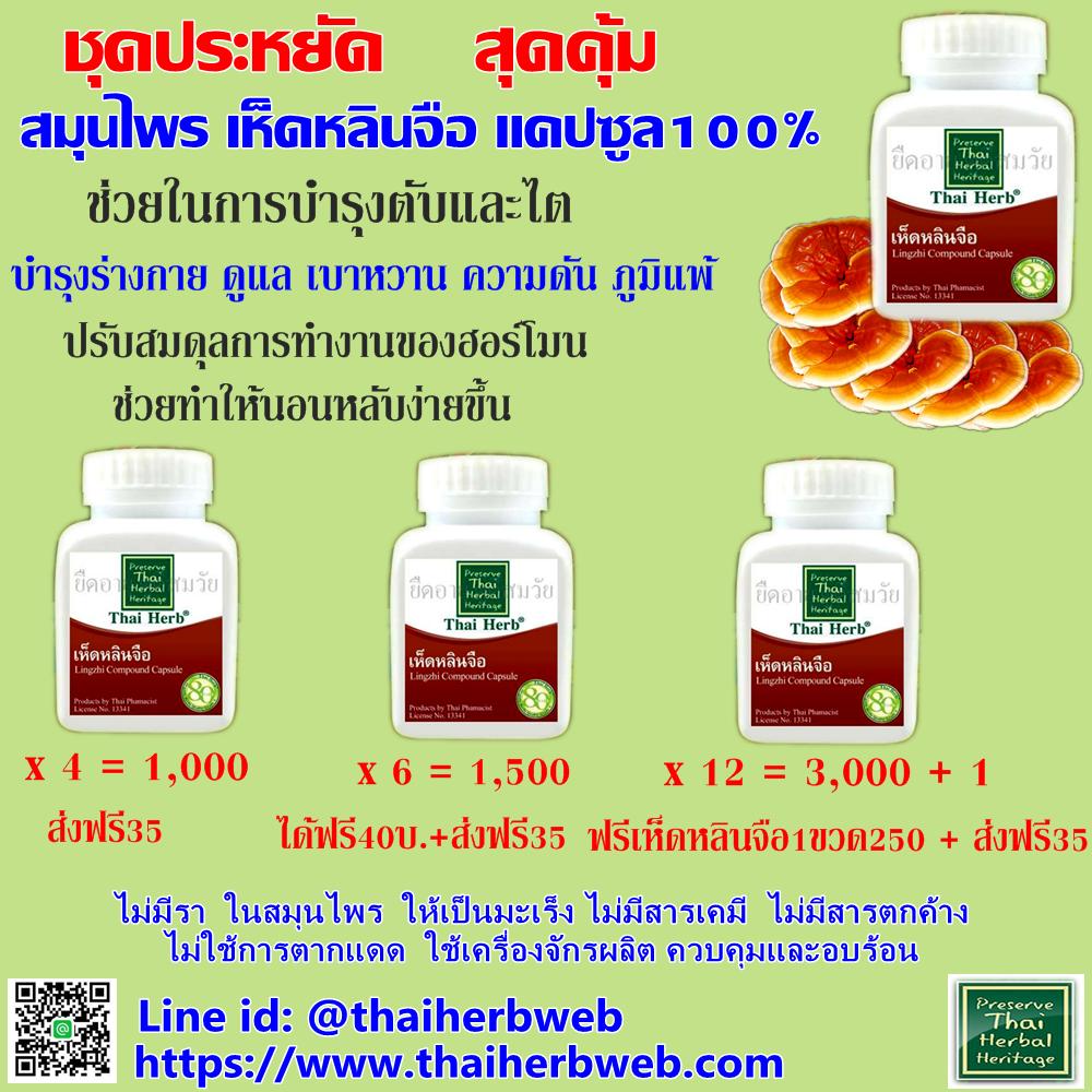 สมุนไพรรักษาโรค เห็ดหลินจือ thaiherb บำรุงร่างกาย บำรุงเลือด ลดความดัน เบาหวาน ไขมันในเลือด