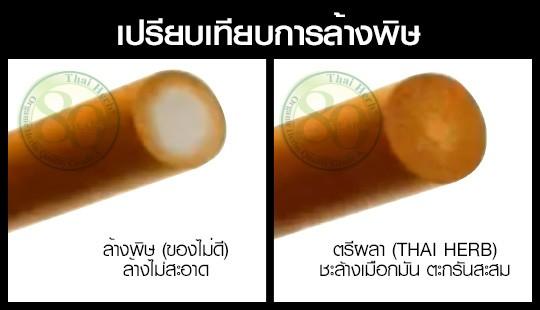 Thai Herb ยิ่งทาน แข็งแรงดีก็มีความกระตือรือล้นที่จะทาน ทำให้ร่างกายสะอาดแข็งแรง ไม่โทรม    1. ชำระไขมันพอกตับ ที่จะทำให้ตับทำงานผิดปกติและอาจกลายเป็นตับแข็ง และมะเร็งตับ    2. ล้างสารพิษสารเคมีในร่างกายในตับ  สำหรับคนทั่วไปที่ทานยาจำนวนมากหรือติดต่อกันเป็นประจำ ยา ต่างๆ อาทิ พาราเซตตามอน ความดัน เบาหวาน ยาลดไขมัน สี ผงฟู ครีมทาหน้า  สบู่  สารเนื้อแดง  ฟอร์มารีน  ของหมักดองเหล่านี้ จะถูกฟอกที่ตับ หากไม่ล้างพิษ จะทำให้ตับเสื่อม เมื่อตับที่เป็นอวัยวะฟอกของเสียในตัวเราเสื่อม จะทำให้เจ็บป่วยบ่อยขึ้น หมองคล้ำ และหากมากที่สุดจะก่อตับแข็ง ไตก็จะพังตามไป การฟอกไตจะตามมา ท้ายสุดร่างกายจะบวม ระบบภายในล้มเหลว    3. ชำระ เมือกมันในข้นเหลวในลำไส้ ตระกรันตามข้องอ ข้อหักในลำไส้  ที่ทำให้การดูดซึมสารอาหาร แร่ธาตุ วิตามินไม่ได้ เพราะถูกเมือกมันป้องกันไว้    4. อุดมด้วยสาร Anti Aging จากพืชล้วน ตรงเข้ายับยั้งการก่อตัวของอนุมูลอิสระ สูตรใกล้เคียงกับน้ำปานะที่พระใช้ฉันท์ ความจริงที่เป็นมากว่า 2,500 ปี ยืดอายุ ดูดีสมวัย  รศ.นพ.สำเริง รัตนระพี อาจารย์แพทย์ศิริราช ที่ได้เขียนบทความมาชิ้นหนึ่งส่งมาให้ ในหัวข้อที่ชื่อว่า