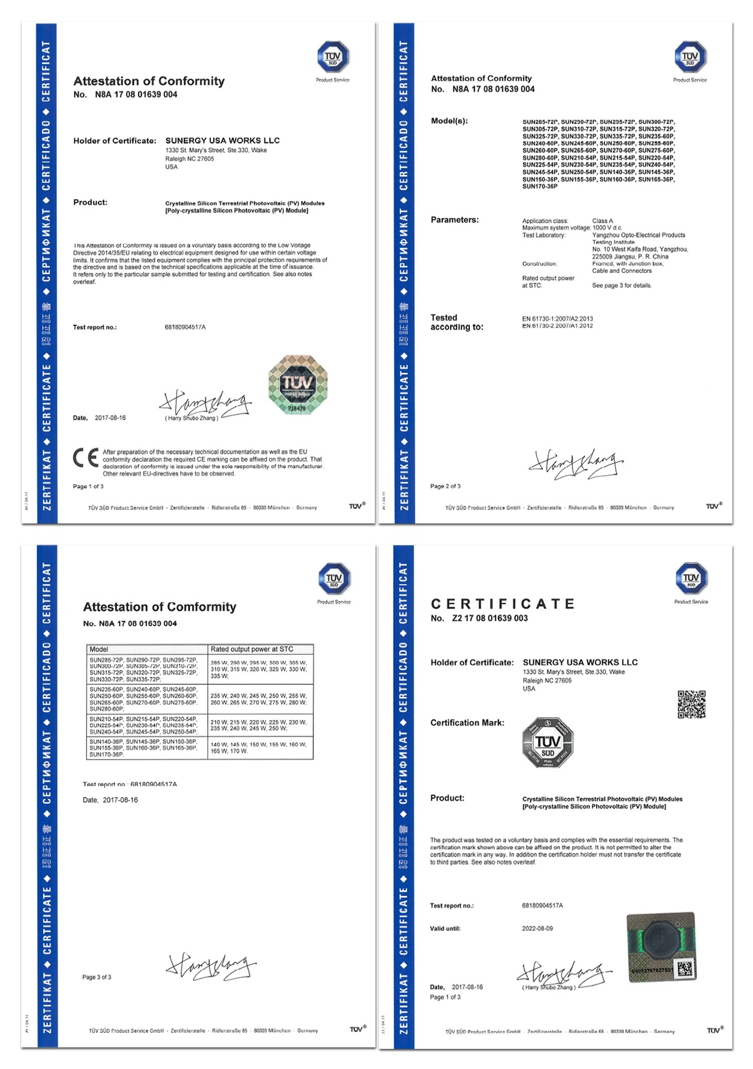 CERTIFICATE Solar Cell 280W