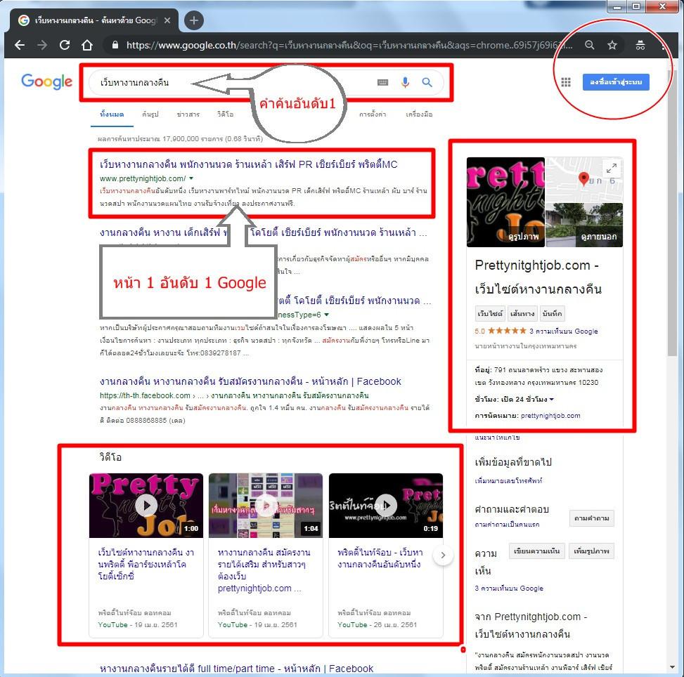 คำค้นเว็บหางานอันดับ1Google
