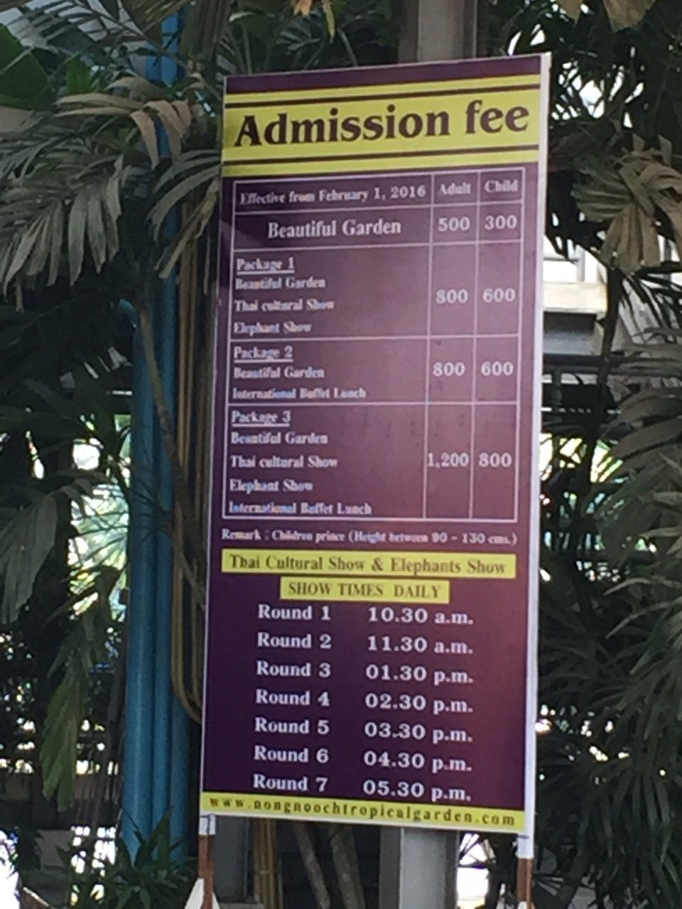 Nong Nuch Garden Ticket Price
