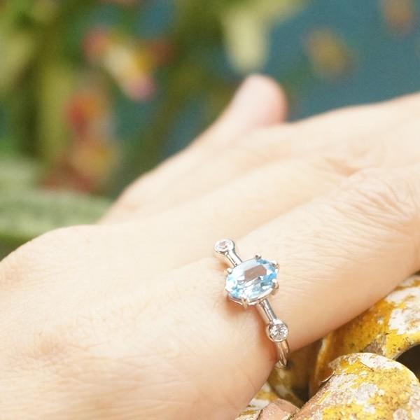 แหวนพลอยบลูโทแพซแท้ SR681