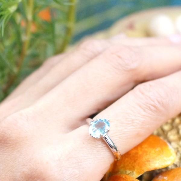 แหวนพลอยบลูโทแพซแท้ SR413