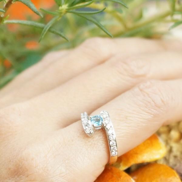แหวนพลอยบลูโทแพซแท้ SR355