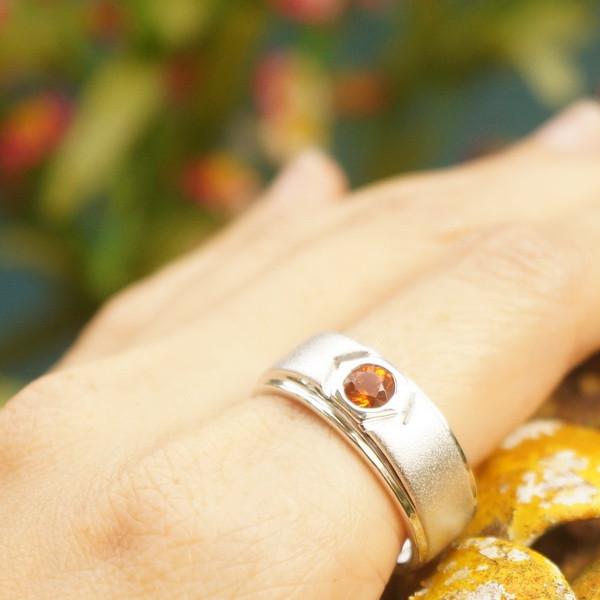 แหวนพลอยโกเมนแท้สีส้ม-สเปสซาร์ไทต์ SR657