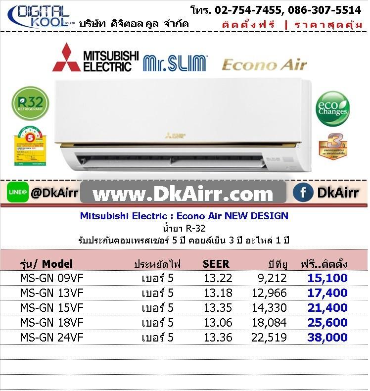 แอร์Mitsubishi Electric Mr.Slim รุ่นMS-GN VF EconoAir ขนาด บีทียู ติดผนัง เบอร์5 R32