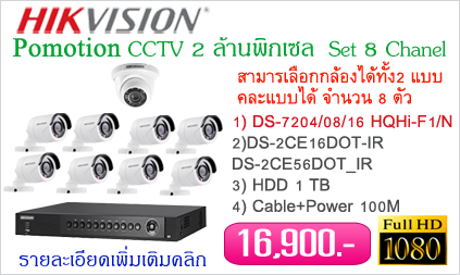 ชุดกล้องวงจรปิด Hikvision 2 ล้านพิกเซล Full HD 1080p (8 Channel)
