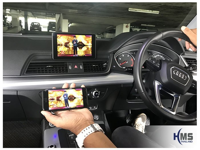 20180820 Audi Q5_Wifi box_Movie,carplay, android auto, screen mirroring, ภาพจากมือถือขึ้นจอรถ ,Screen mirror, mirror link, car wifi display, car wifi
