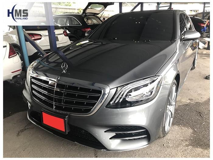 20180829 Mercedes Benz S350_W222_front,รถ Mercedes Benz S350d W222 ติดตั้งกล้องติดรถยนต์ โดยทีมงาน HMS Thailand