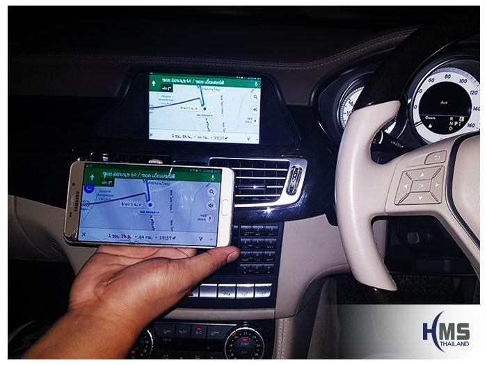 20180905 Mercedes Benz CLS350_W218_Wifi box_Navigation,ภาพโปรแกรมนำทางจากมือถือไปออกที่หน้าจอรถ Mercedes Benz CLS350 CDI W218 ผ่านกล่อง Wifi box