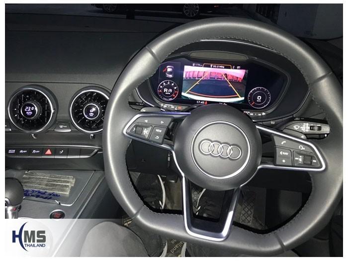 20180925 Audi TT 45TFSI quattro rear camera view,ภาพจากกล้องมองหลังบนจอหลังพวงมาลัยของรถ Audi TT