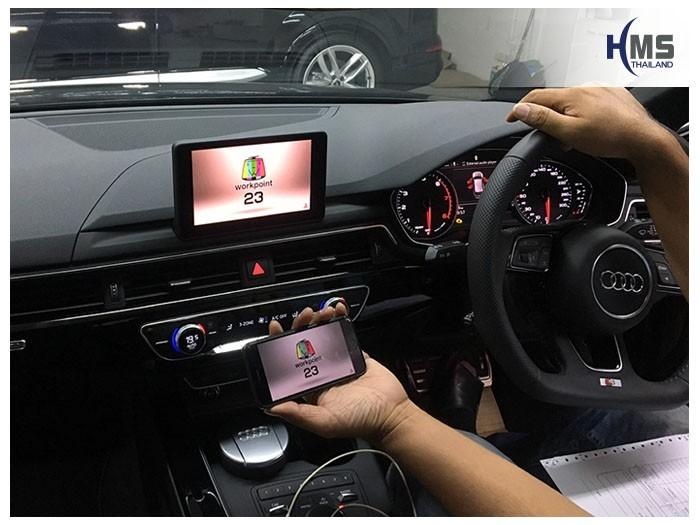 20190503 Audi A4 Wifi box Youtube,ภาพการเล่น Youtube จากมือถือไปออกที่หน้าจอของรถ Audi A4