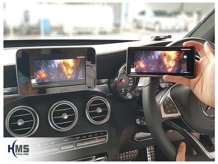 20180831 Mercedes Benz GLC250d_W253_Wfii_box_Movie,ภาพจากมือถือไปออกที่หน้าจอของรถหลังติดตั้งชุด Car Wifi Display