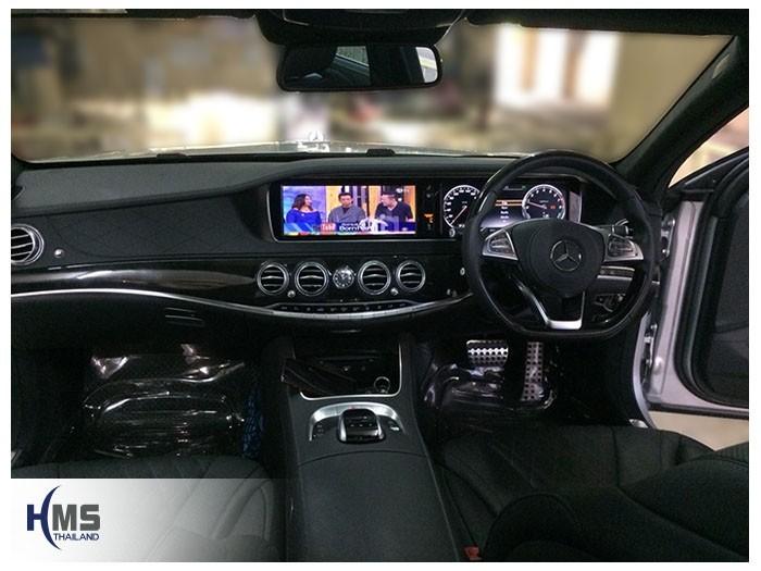 20180824 Mercedes Benz S500e_W222_TV digital_ASUKA_HR600_front,ภาพทีวีระบบดิจิตอลบนจอหน้าของรถ Mercedes Benz S500e