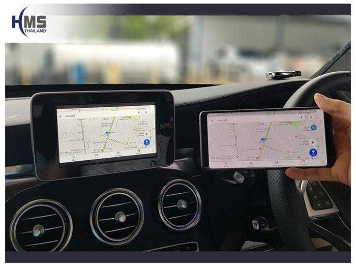20180831 Mercedes Benz GLC250d_W253_Wfii_box_Navigation,ภาพการนำทางจากมือถือไปออกที่หน้าจอของรถ Mercedes Benz GLC250d W253 ผ่านกล่อง Wifi box