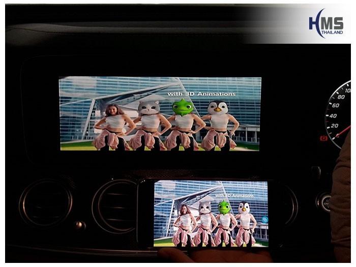 20180901 Mercedes Benz E300_W213_Wifi_box_Youtube,ภาพวีดีโอบนหน้าจอรถ Mercedes Benz E300e เล่นจากมือถือผ่านชุด Screen Mirror โดย HMS Thailand