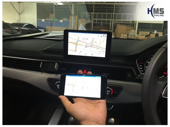 20180921Audi A5 Wifi box Navigation,ระบบนำทางจากมือถือไปออกที่หน้าจอของรถ Audi A5 ด้วยกล่อง Wifi box