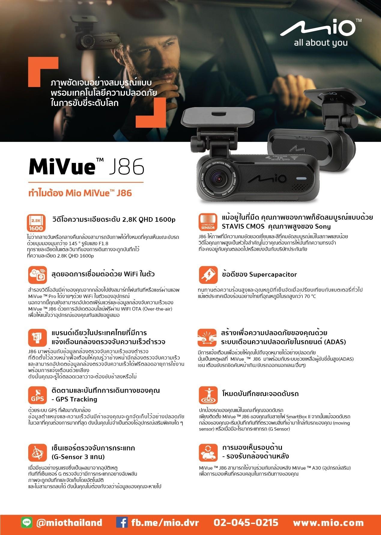กล้องติดรถยนต์ Mio MiVue J86