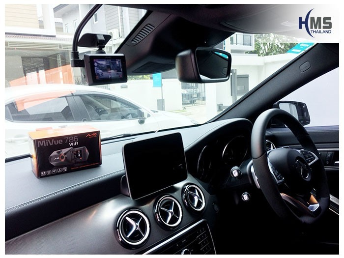 20180908 Mercedes Benz CLA250_C117_DVR_Mio_MiVue_786_Wifi,กล้องติดรถยนต์ Mio MiVue 786 Wifi ติดตั้งไว้หน้ารถ Mercedes Benz CLA250 C117