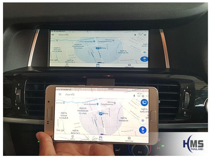 20180829 BMW X3 Wifi box_Navigation,ภาพแผนที่นำทาง Google map จากสมาร์ทโฟนไปออกที่หน้าจอรถ BMW X3