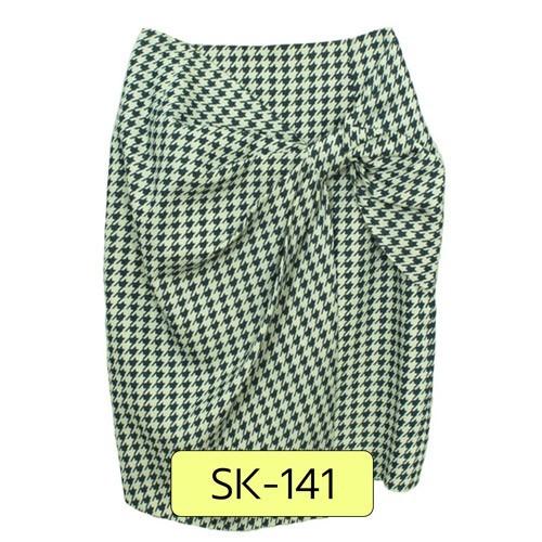 SK-141 กระโปรงแฟชั่น&ทำงาน ทรงสอบ ผ้าคอตต้อนพิมพ์ลายชิโนริโทนสีน้ำเงิน