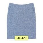 SK-429 กระโปรงแฟชั่น&ทำงาน ทรงสอบ ผ้า CHANEL สีฟ้า มีกระเป๋าล้วง 2 ข้าง