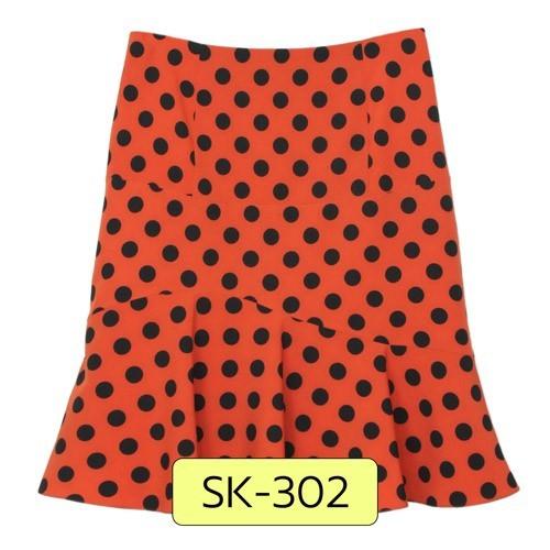 SK-302 กระโปรงแฟชั่น&ทำงาน ทรงย้วย ผ้าไหมอิตาลีสีส้มพิมพ์ลาย Polka Dot จุดดำ