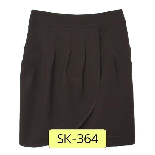 SK-364 กระโปรงแฟชั่น&ทำงาน ทรงสอบ ผ้าไหมอิตาลีสีน้ำตาลเข้ม