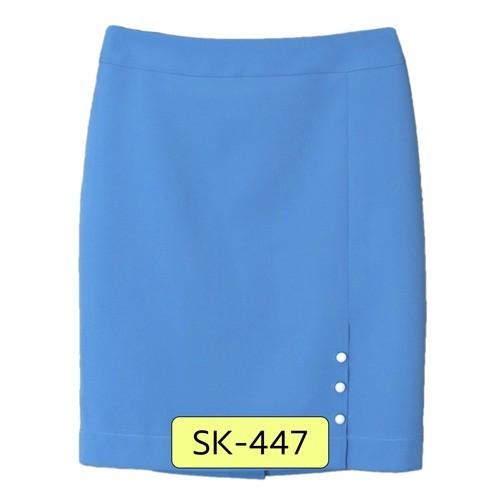 SK-447 กระโปรงแฟชั่น&ทำงาน ทรงสอบ ผ้าไหมอิตาลีสีฟ้า