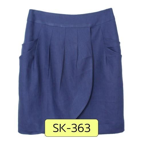 SK-363 กระโปรงแฟชั่น&ทำงาน ทรงสอบ ผ้าลินินสีน้ำเงินคราม