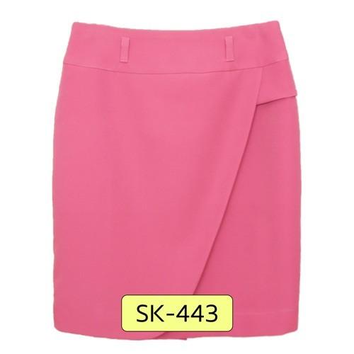 SK-443 กระโปรงทรงสอบ ผ้า Double Twist สีชมพู