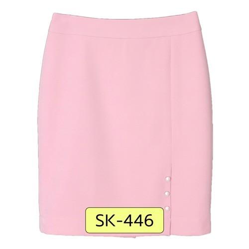 SK-446 กระโปรงแฟชั่น&ทำงาน ทรงสอบ ผ้า Double Twist สีชมพู