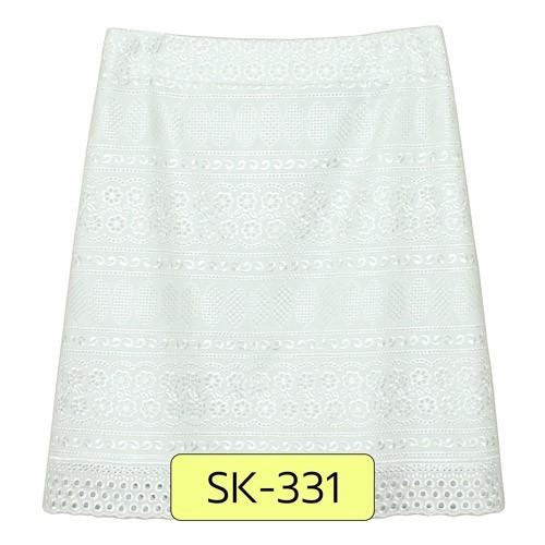 SK-331 กระโปรงแฟชั่น&ทำงาน ทรงเอ ผ้าลูกไม้สีขาว ชายกระโปรงเป็นเชิงลูกไม้