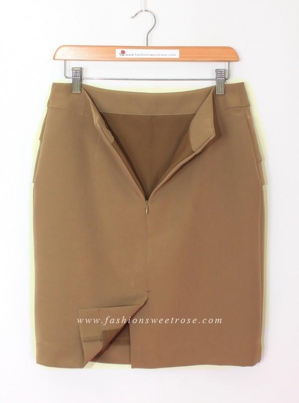SK-469 กระโปรงทรงสอบ ผ้า Double Twist สีน้ำตาล Chocolate แต่งผ้าซ้อน 3 ชิ้น