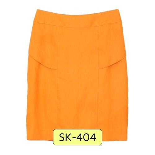 SK-404 กระโปรงแฟชั่น&ทำงาน ทรงสอบ ผ้าลินินญี่ปุ่นสีส้ม