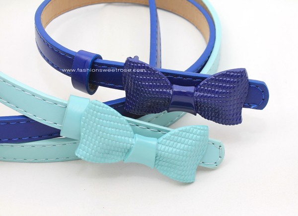 BLT-259 เข็มขัดแฟชั่นผู้หญิงเส้นเล็ก สายหนังเทียมสีฟ้าน้ำทะเล หัวโลหะรูปโบว์ใหญ่สีฟ้าน้ำทะเล