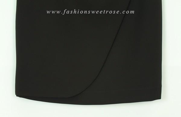 SK-452 กระโปรงทรงสอบ ผ้า Double Twist สีดำ