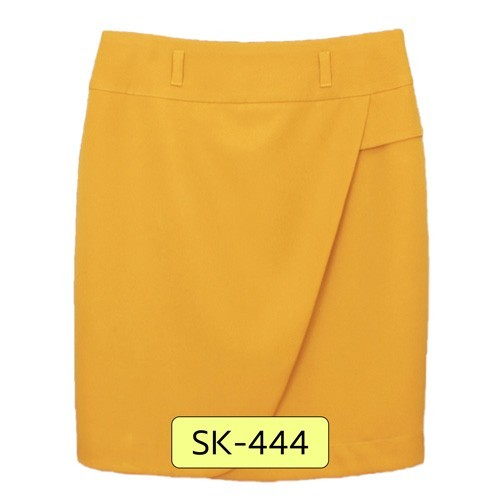 SK-444 กระโปรงทรงสอบ ผ้า Double Twist สีเหลืองมาสตาส