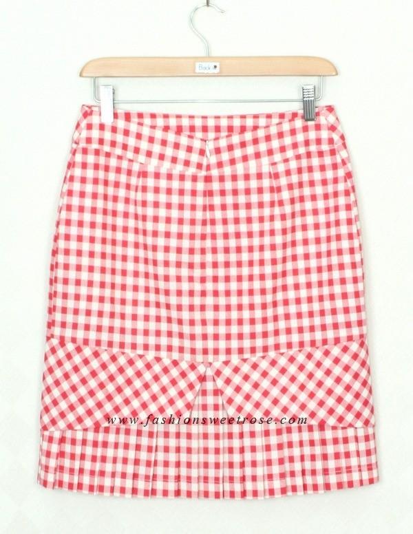 กระโปรงแฟชั่น Hepburn skirt ผ้าคอตต้อนญี่ปุ่นสีเหลือง ชายกระโปรงจับจีบ