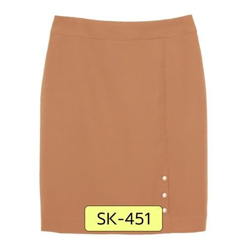 SK-451 กระโปรงทรงสอบ ผ้า Double Twist สี Light Brown