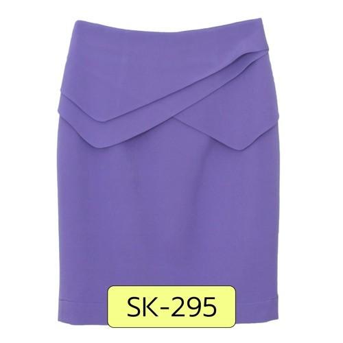 SK-295 กระโปรงแฟชั่น&ทำงาน ทรงสอบ ผ้าไหมอิตาลีสีม่วง