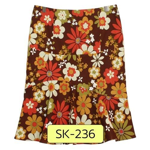 SK-236 กระโปรงแฟชั่น&ทำงาน ทรงย้วย ผ้าคอตต้อนญี่ปุ่นพิมพ์ลายดอกไม้ โทนน้ำตาลเข้ม