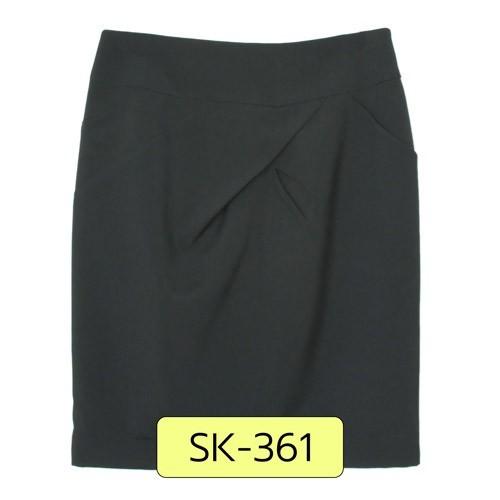 SK-361 กระโปรงแฟชั่น&ทำงาน ทรงสอบ ผ้าไหมอิตาลีสีดำ