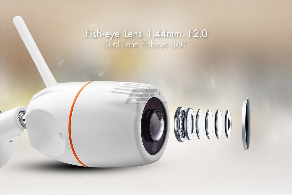 กล้องวงจรปิดไร้สาย กันน้ำกันฝนกันฝุ่นละออง (มาตรฐาน IP66) เหมาะสำหรับ ติดตั้งภายนอก เลนส์ Fisheye 360 องศา ความละเอียด 2.0 ล้านพิกเซล ที่สั่งการ ด้วย Software เฉพาะที่ทำให้คุณเห็นภาพได้ 360 องศาด้วยกล้องเพียงตัวเดียว
