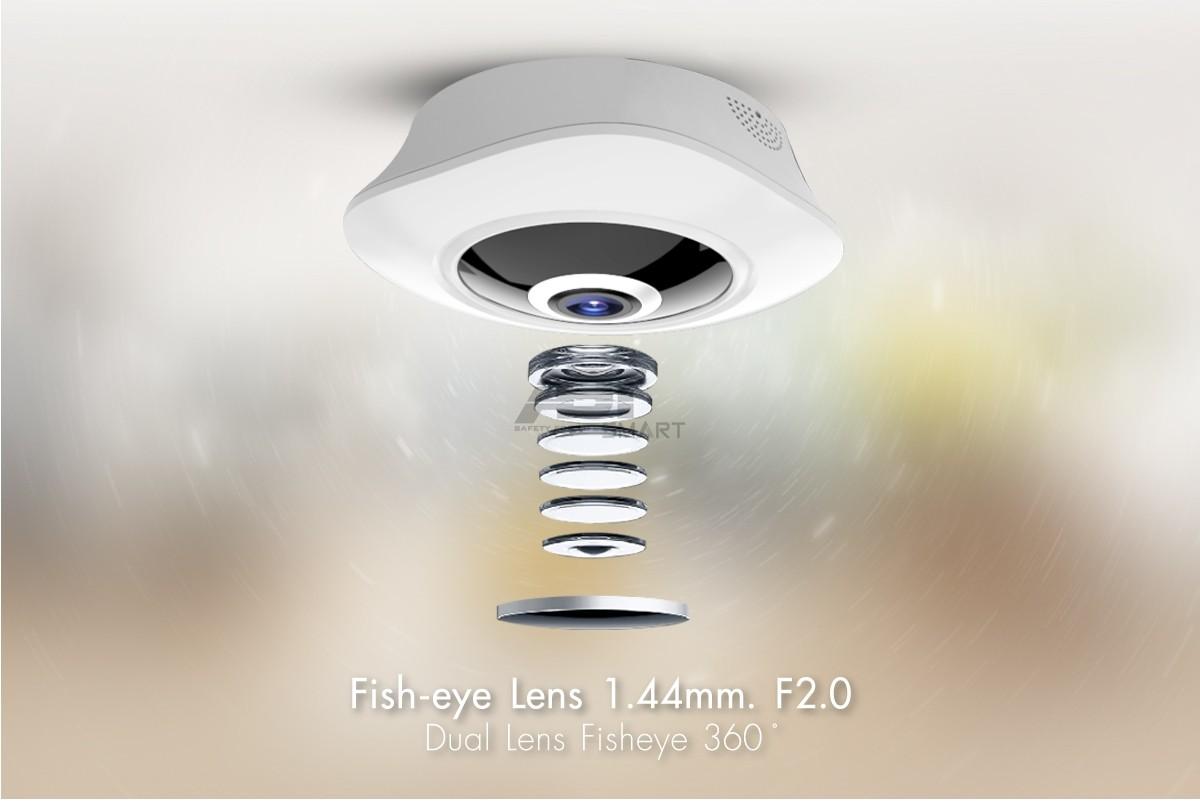 ความละเอียด 3.0 ล้านพิกเซล กล้องวงจรปิดไร้สาย เลนส์ Fisheye 360 องศา  ที่สั่งการด้วย Software เฉพาะที่ทำให้คุณเห็นภาพได้แบบ 360 องศา ด้วยกล้องเพียงตัวเดียว