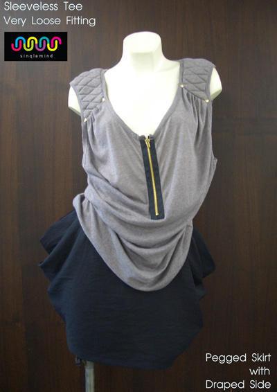 ผลงานเสื้อผ้าผู้เรียน-เสื้อยืดสตรตัวหลวม-กระโปรงทรงดินสออจับถ่วงด้านข้าง