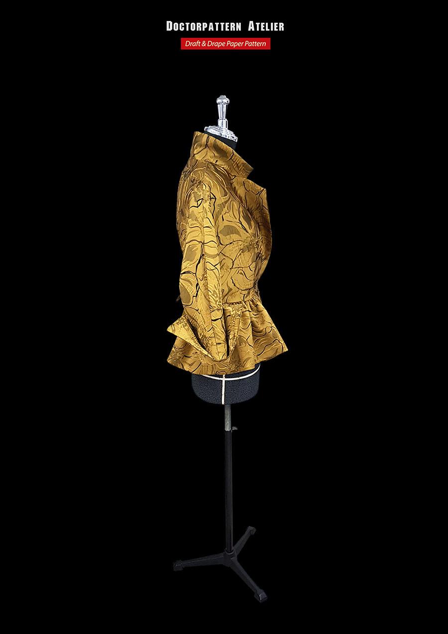 ผลงานการสร้างแพทเทิร์นเสื้อสตรีผ้าทอลายในตัวแขนกิโมโนปกซาฟารีตั้ง ยุคค.ศ.1950 โดยคุณ ฐานิสสร์