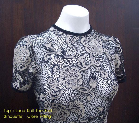 เสื้อยืดแขนสั้นผ้าลูกไม้ กางเกงสตรีทรงสลิมจีบหน้า Viriszamara
