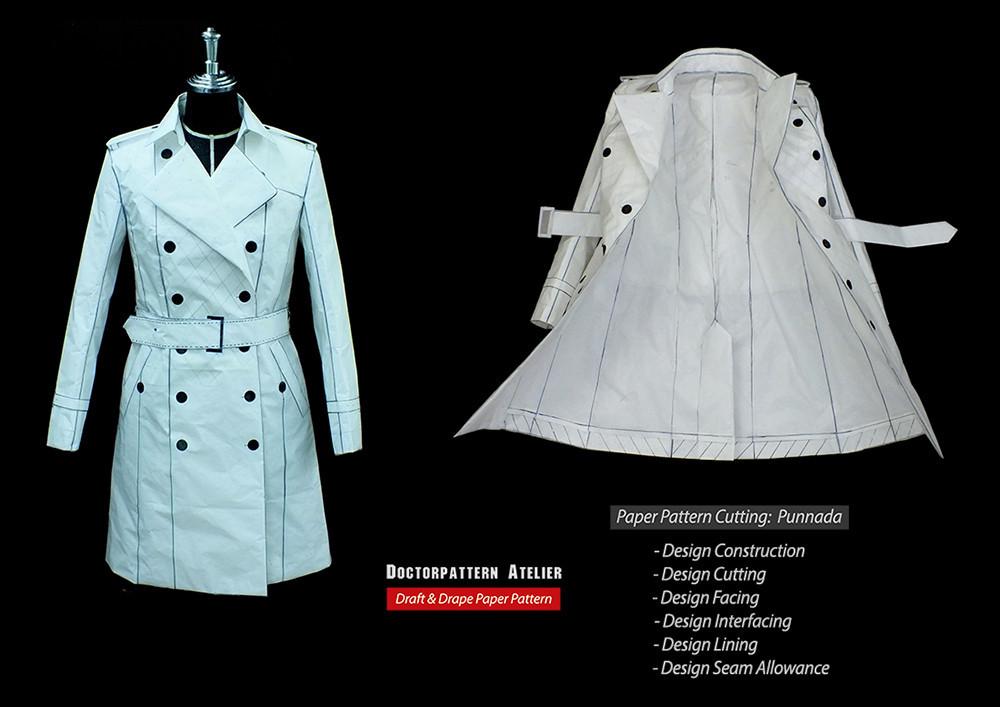 ผลงานการฝึกสร้างแพทเทิร์นเสื้อโค้ทสตรีป้ายกระดุม2แถวปกเทเลอร์ผสม Burberry