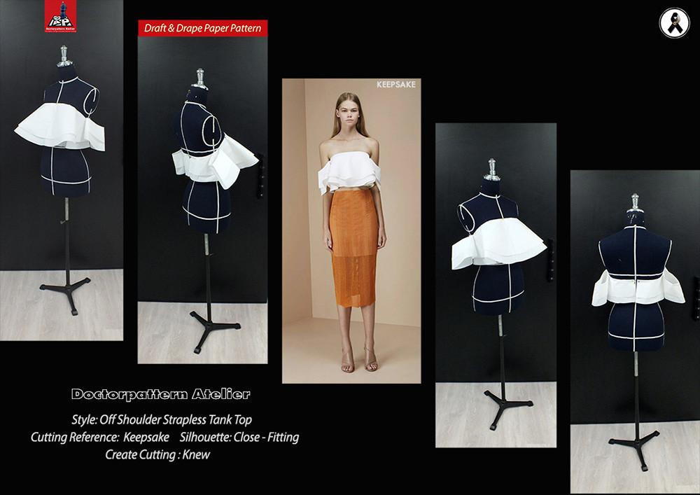 ผลงานการฝึกออกแบบคัตติ้งแพทเทิร์นเสื้อเกาะอกเปิดไหล่แขนกิโมโนระบายรอบตัว